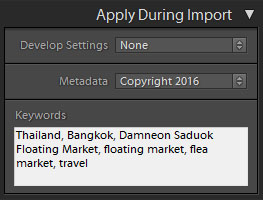 apply keywords in lightroom during import