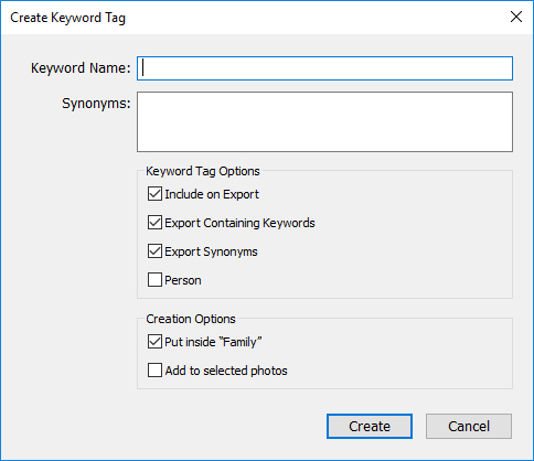 create keywords in lightroom
