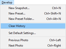 clear history in lightroom