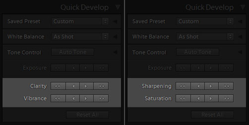 change quick develop settings