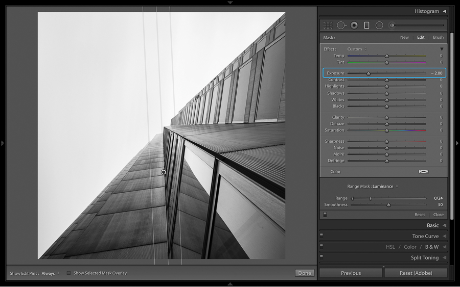 black and white images in lightroom