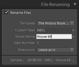 file renaming in lightroom