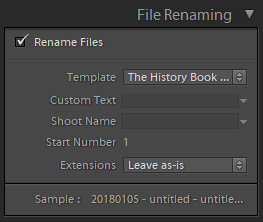 File Renaming panel in lightroom