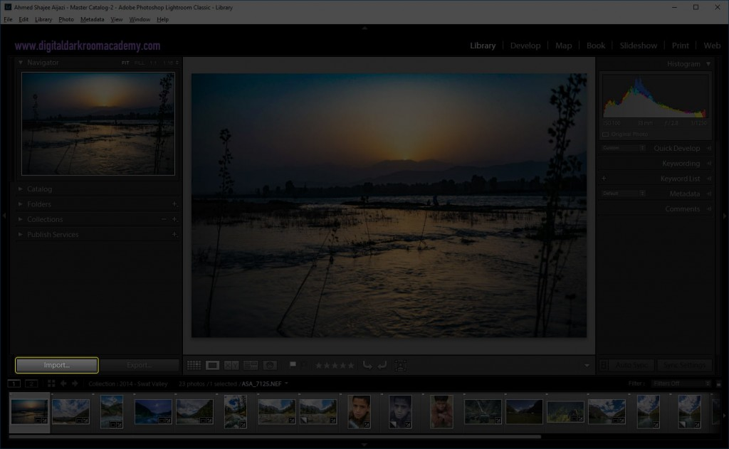 Import in Lightroom