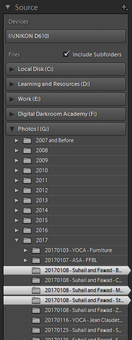 source panel in lightroom import