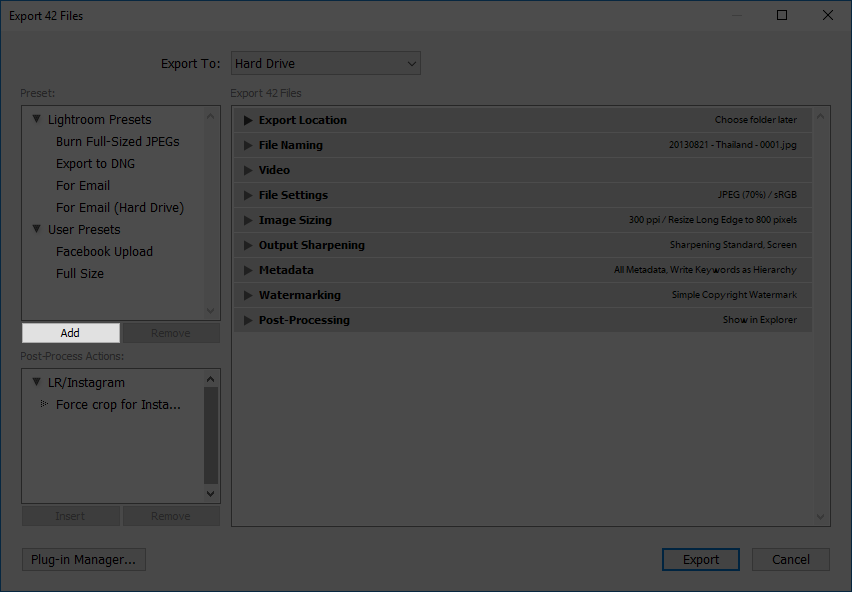 making export presets