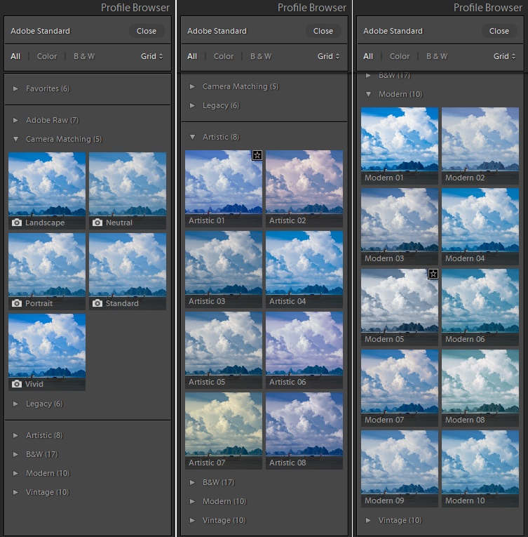 Lightroom Classic 7.3 - Profile Browser
