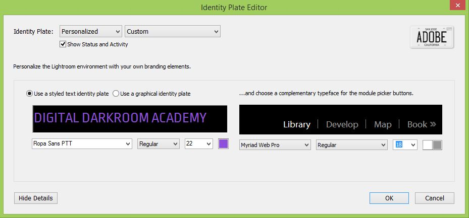 Text Identity Plate in Lightroom