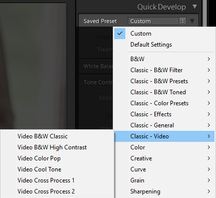 using presets to edit videos in lightroom