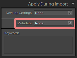 metadata in lightroom