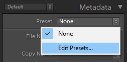 metadata preset in lightroom