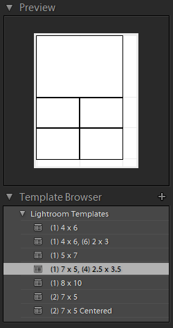 Template Browser for Photo Collage in Lightroom