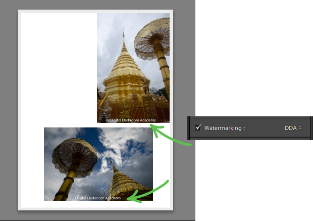 Page panel to watermark photos