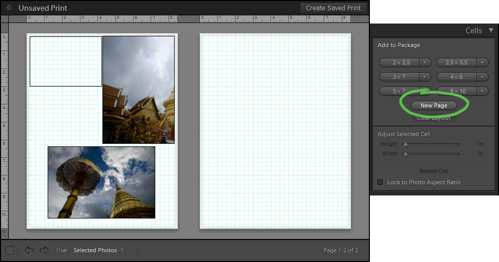 adding new page to make photo collage in lightroom