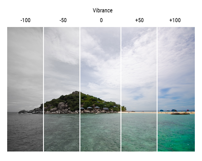different levels of vibrance